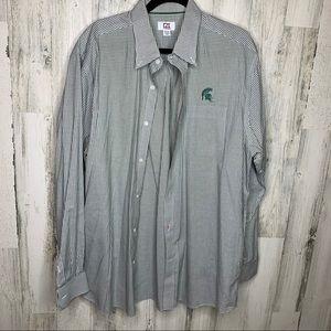 Cutter & Buck Michigan State Plaid Dress Shirt XL